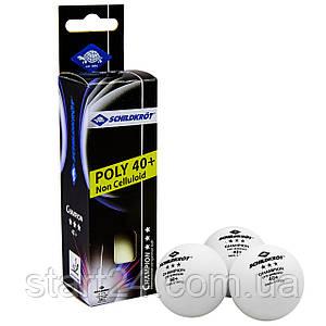 Набір м'ячів для настільного тенісу 3 штуки DONIC МТ-608540 CHAMPION 3star (пластик, d-40мм, білий)
