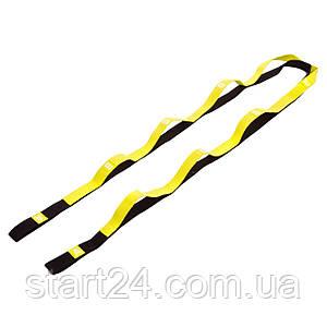 Лента для растяжки Record Stretch Strap FI-6347 (8 петель, полиэстер, р-р 2,5х180см, черный-лимонный)