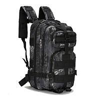 Штурмовой тактический рюкзак 25л, многофункциональный рюкзак черный мультикам Oxford 600D