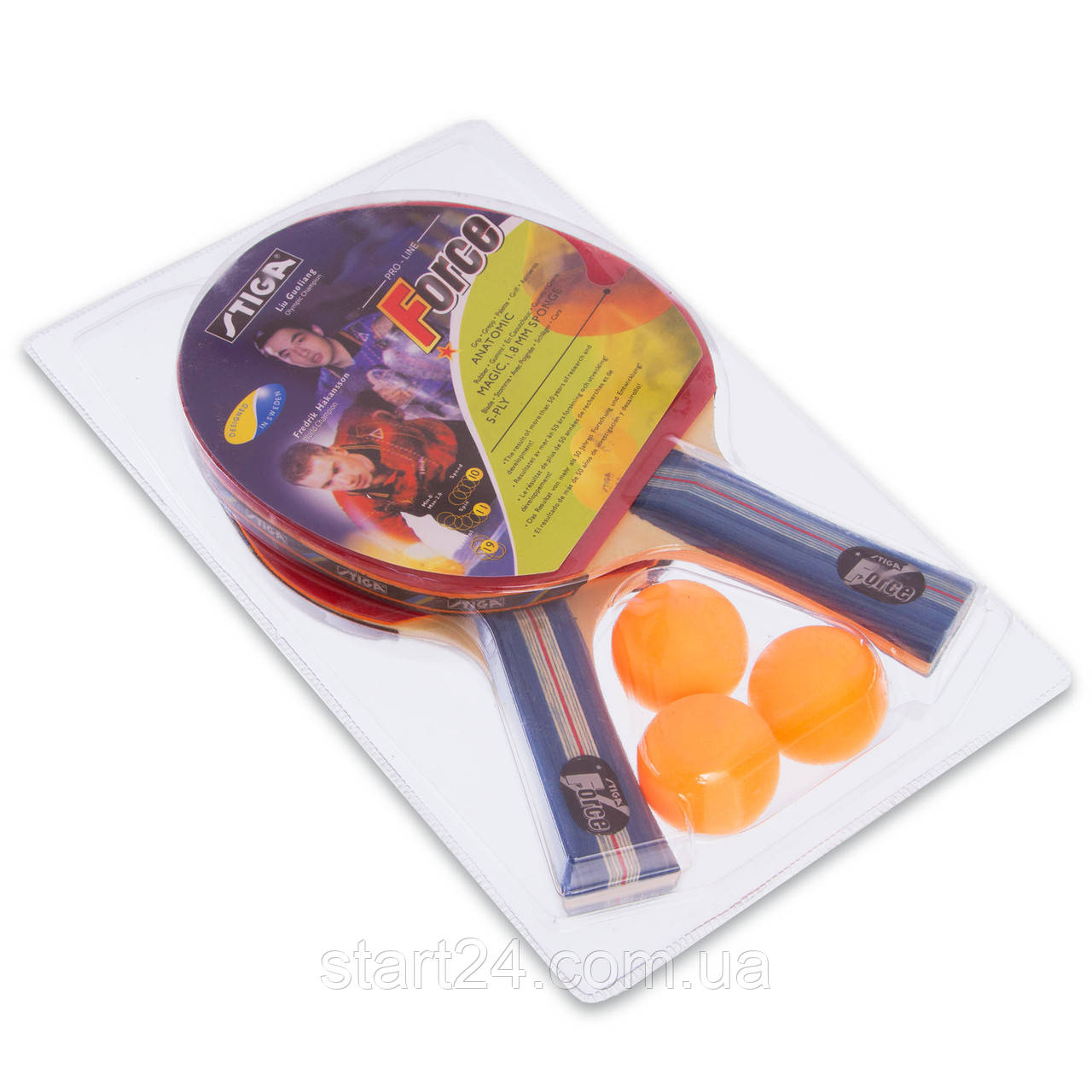 Набір для настільного тенісу 2 ракетки, 3 м'ячі STG FORCE МТ-6367 (деревина, гума)