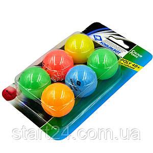 Набір м'ячів для настільного тенісу 6 штук DONIC МТ-649015 COLOR POPPS (ABS, d-40мм, різнокольоровий)
