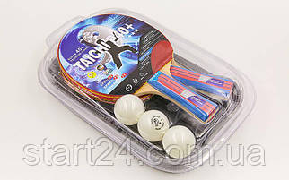 Набор для настольного тенниса 2 ракетки, 3 мяча с чехлом GIANT DRAGON TAICHI P40+3* MT-6505 (древесина)