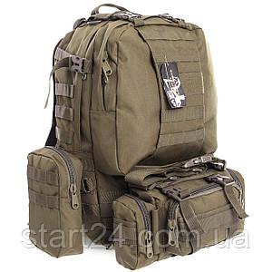 Рюкзак тактический рейдовый SILVER KNIGHT 55 литров TY-213 (нейлон, оксфорд 900D, размер 50х34х15см, цвета в