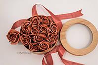 Декоративный подарочный набор с розами из мыльной пены: wood box + 11 roses, nude