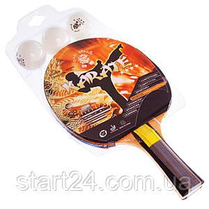Набор для настольного тенниса 1 ракетка, 3 мяча GIANT DRAGON KARATE P40+4* MT-6544 (древесина) CST12402P40