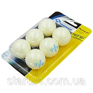 Набір м'ячів для настільного тенісу 6 штук DONIC МТ-658021 PRESTIGE 2star (пластик, d-40мм, білий)