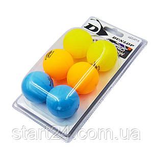 Набір м'ячів для настільного тенісу 6 штук DUNLOP MT-679213 NITRO GLOW (пластик, d-40мм, різнокольоровий)