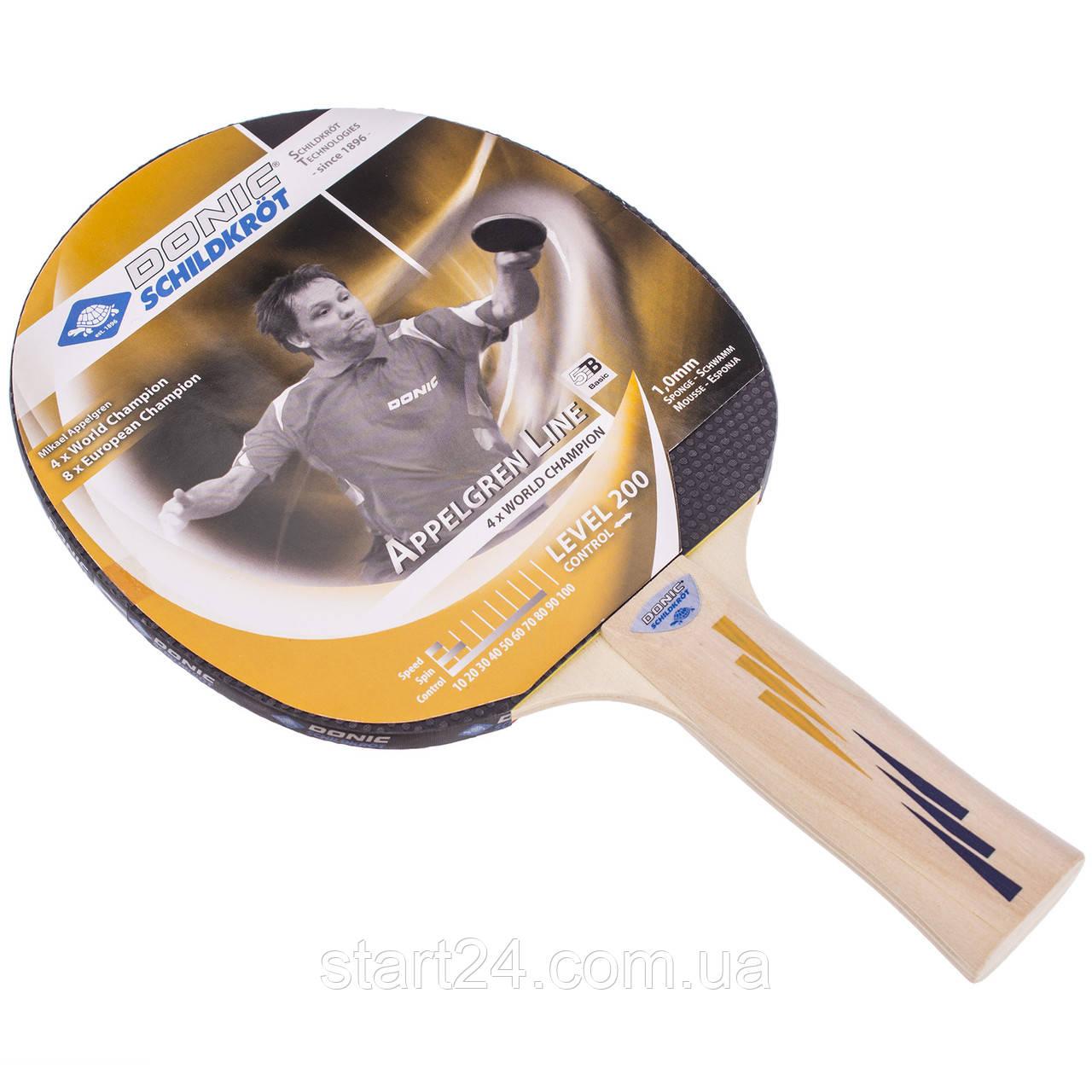 Ракетка для настільного тенісу 1 штука DONIC LEVEL 200 MT-703002 APPELGREN (деревина, гума)