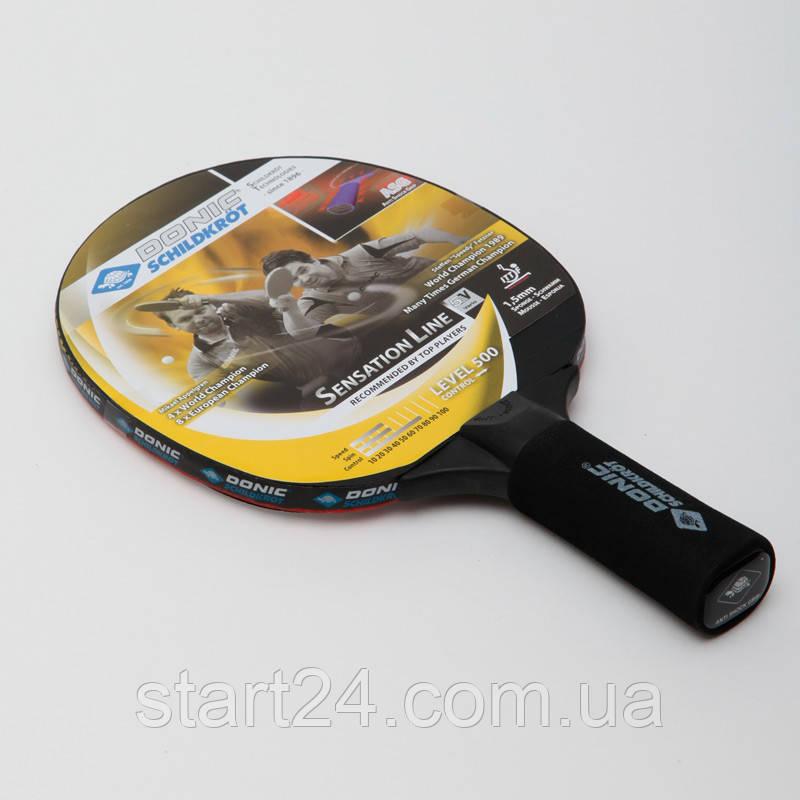 Ракетка для настільного тенісу 1 штука DONIC LEVEL 500 MT-714402 SENSATION (деревина, вініл, гума)