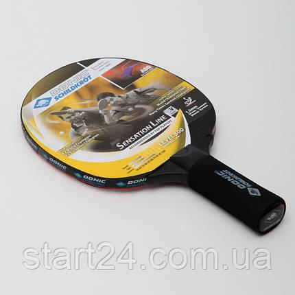 Ракетка для настільного тенісу 1 штука DONIC LEVEL 500 MT-714402 SENSATION (деревина, вініл, гума), фото 2