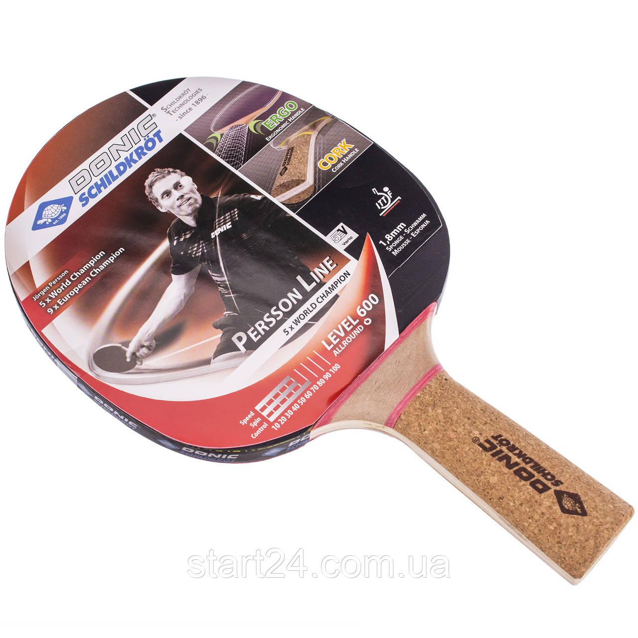 Ракетка для настольного тенниса 1 штука DONIC LEVEL 600 MT-728461 PERSSON (древесина, резина)