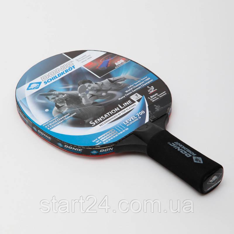 Ракетка для настольного тенниса 1 штука DONIC LEVEL 700 MT-734403 SENSATION (древесина, винил, резина)