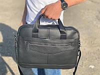 Кожаная сумка-портфель для ноутбука и документов черная Tiding Bag A-112C для офиса