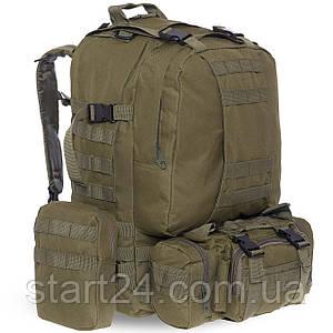 Рюкзак туристический бескаркасный со съемными поясными сумками RECORD 60 литров  TY-7100 (полиэстер, нейлон,