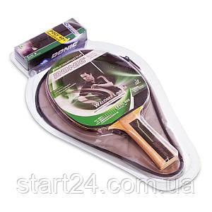 Набор для настольного тенниса 1 ракетка, 3 мяча с чехлом DONIC LEVEL 400 MT-788484 WALDNER (древесина, резина)