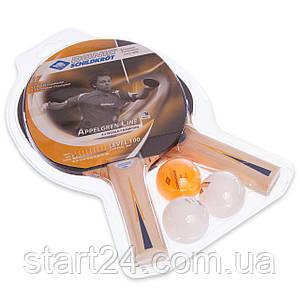 Набор для настольного тенниса 2 ракетки, 3 мяча DONIC LEVEL 100 MT-788610 APPELGREN (древесина, резина)