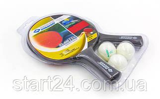 Набор для настольного тенниса 2 ракетки, 3 мяча DONIC МТ-788649 PLAYTEC (термопластик, резина)