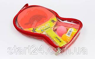 Набор для настольного тенниса 2 ракетки, 3 мяча DONIC MT-788695 NEON SET (древесина, резина)