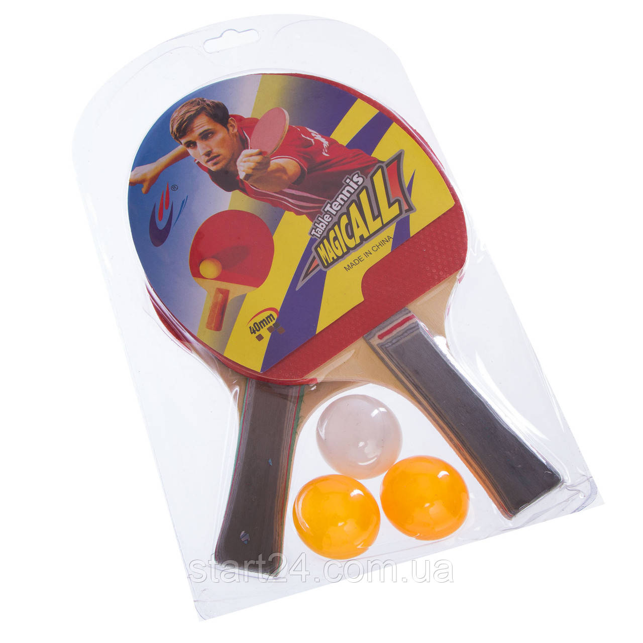Набор для настольного тенниса 2 ракетки, 3 мяча Macical MT-805 (древесина, резина, пластик)