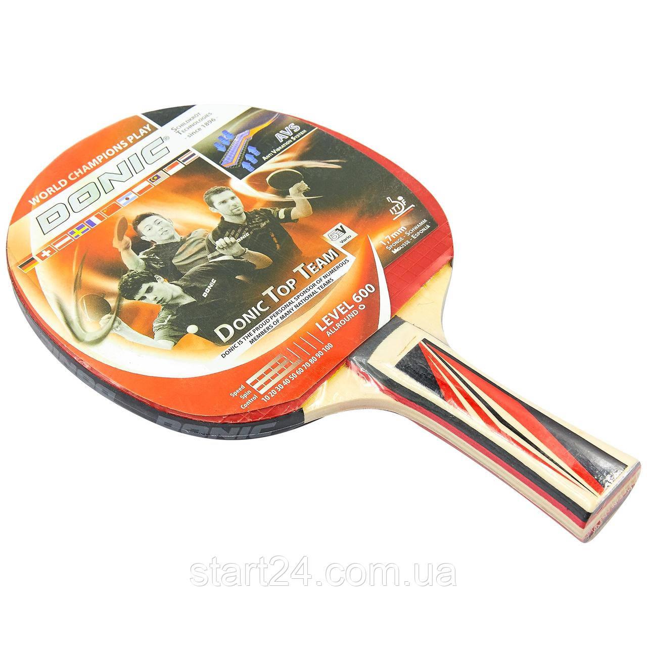 Ракетка для настільного тенісу 1 штука DNC LEVEL 600 MT-8385 TOP TEAM (деревина, гума)