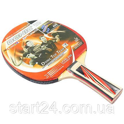 Ракетка для настільного тенісу 1 штука DNC LEVEL 600 MT-8385 TOP TEAM (деревина, гума), фото 2