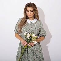 Женское модное красивое платье цветочное с белым воротником