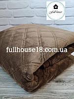 Покрывало коричневое 240*260 см велюровое евро макси на кровать и диван