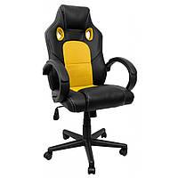 Кресло геймерское экокожа на колесиках стул игровой для геймеров желтый с нагрузкой до 120 кг