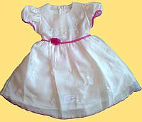 Нарядное шифоновое платье для девочки, белое с малиновой отделкой, р. 98 см