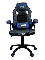 Кресло компьютерное геймерское Extreme EX ТЕМНО СИНЄ Стул офисный Кресло игровое с подушкой Крісло компютерне
