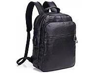 Мужской кожаный рюкзак Tiding Bag A25 Черный для ноутбука
