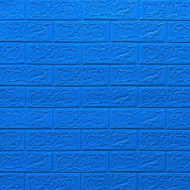 Декоративна 3D панель самоклейка під цеглу Синій 700х770х5мм Os-BG03-5