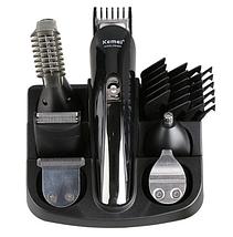Универсальный триммер для стрижки волос, беспроводная машинка для стрижки KEMEI KM 600 (11 В 1 + Подставка), фото 3