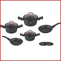 Набор кухонной посуды 10 предметов кастрюлииз алюминия с мраморным покрытием Top Kitchen Deluxe TK00012 черный