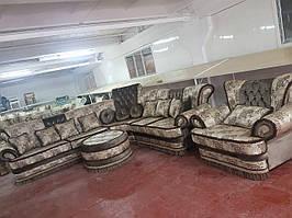 Комплект мягкой мебели Лотос (угловой диван + 1 кресло + банкетка со стеклом)  СлонимМебель
