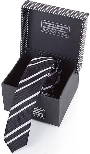 Традиционный шелковый узкий галстук  ETERNO (ЭТЕРНО) EG651 черный