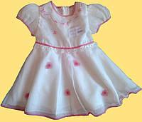 Нарядное детское шифоновое платье для девочки, белое с малиновой отделкой, р. 80, 86, 92 см