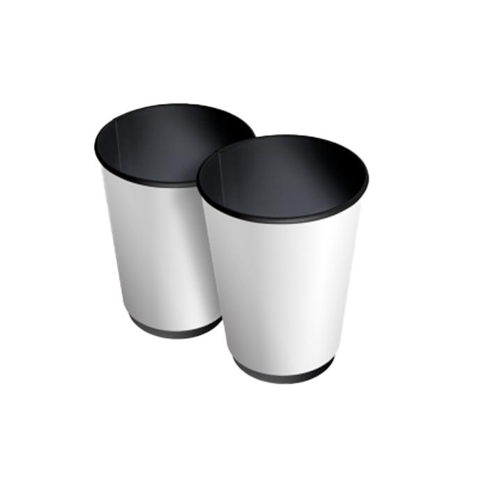 Паперові стакани 450 (500 )мл Євро, ДаблВол, двошаровий, чорний зсередини, білий зовні, 25 шт./рук (арт 00792)