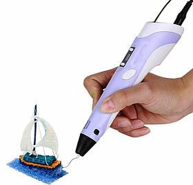 3D ручка для дітей PEN-2 UTM з LCD дисплеєм і 9 метрів пластику Фіолетова. тред ручка, 3д ручку для дітей