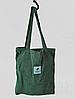 """Вельветовая женская сумка шоппер (тоут) """"Lady Star"""", цвет зеленый"""