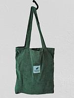 """Вельветовая женская сумка шоппер (тоут) """"Lady Star"""", цвет зеленый, фото 1"""