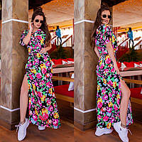 Женское летнее платье длинное в цветочек черное синее розовое 42-44 46-48 50-52 54-56 штапель хлопок разрез