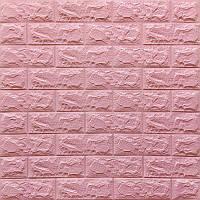 Декоративна 3D панель самоклейка під цеглу Рожевий (в упаковці 10 шт) 700х770х7мм Os-BG04