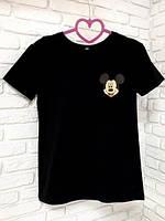 Женская футболка хлопок черная с принтом Mickey Mouse микки маус SKL59-259640