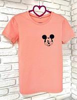 Женская футболка хлопок розовая с принтом Mickey Mouse микки маус SKL59-259641