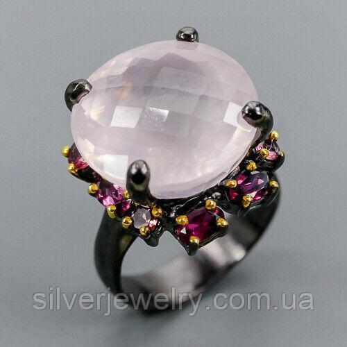 Серебряное кольцо с РОЗОВЫМ КВАРЦЕМ (натуральный), серебро 925 пр. Размер 19