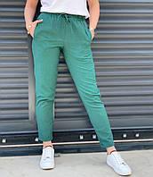 Женские летние льняные брюки (42 44 46 48 50) (цвета: чёрный, мокко, изумруд, джинс) СП, фото 1