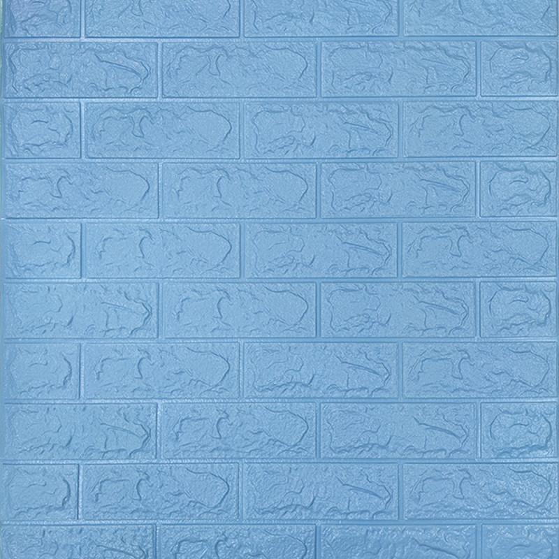 Декоративна 3D панель самоклейка під цеглу Бірюзовий 700х770х5мм Os-BG02-5