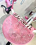 Двоколісний велосипед PROF1 Ballerina на 18 дюймів c кошиком рожевий, фото 6