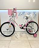 Двоколісний велосипед PROF1 Ballerina на 18 дюймів c кошиком рожевий, фото 3